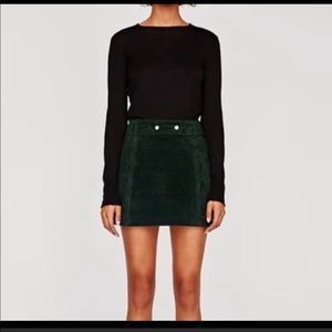 Zara Green Suede Mini Skirt